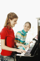 Girl and her piano teacher