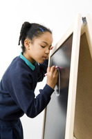 Girl drawing on chalkboard