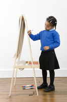 Girl drawing on drawing board