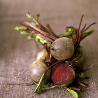 High angle close up of some beetroot