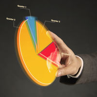 Index finger pointing at a pie chart