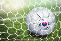 Korea republic soccer ball in goal net