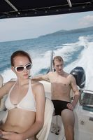 Man and woman on speedboat