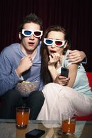 Man and woman watching 3d movie