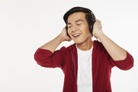 Man listening to music on the headphone