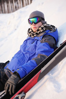 Man resting after skiing