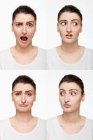 Montage of woman with different facial expression