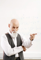 Old professor pointing at his student
