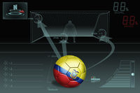 Penalty kick infographic with ecuador soccer ball