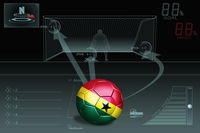 Penalty kick infographic with ghana soccer ball