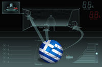 Penalty kick infographic with greece soccer ball