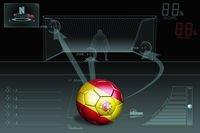 Penalty kick infographic with spain soccer ball