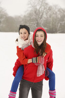Playful girls in winter
