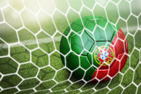 Portugal soccer ball in goal net