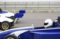 Side profile of a formula one racing car