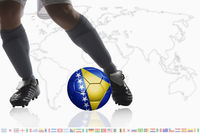 Soccer player dribble a soccer ball with bosnia and herzegovina flag