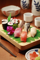 Sushi on a wooden tray