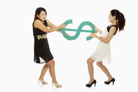 Two women pulling a dollar sign