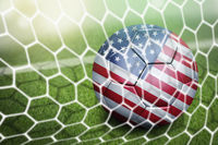 Usa soccer ball in goal net