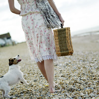 Woman carrying picnic basket with dog following from behind