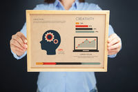 Popular : Woman holding board with creativity concept and infographics