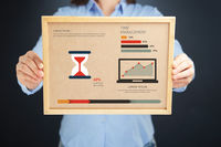 Popular : Woman holding board with time management concept and infographics