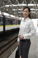 Woman on train station platform