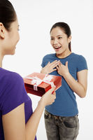 Woman presenting gift to a friend