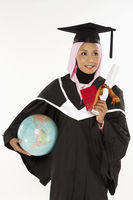 Woman with globe, passport and graduation scroll