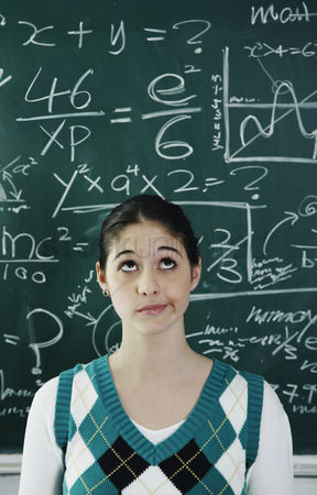 Girl : Girl having problems solving the confusing equation