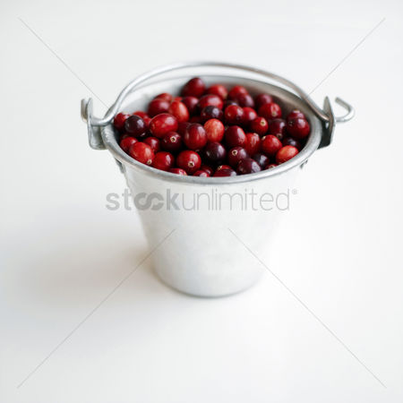 Background : Red berries stored in an aluminium bucket