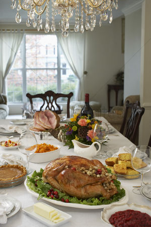 Interior : Thanksgivig dinner on table in elegant home