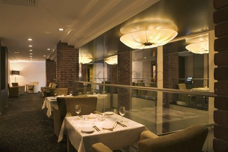 Interior : The interior of a hotel restaurant