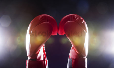 Concepts : Two red boxing gloves