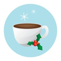A cup of hot drink with mistletoe