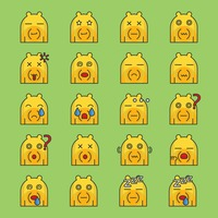 A set of bear emoticon showing different facial expressions