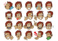 A set of boy emoticon showing various facial expressions