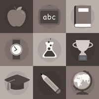 A set of education icons