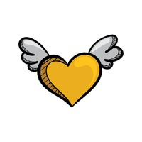 A yellow heart with wings