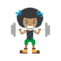 African boy lifting dumbbell