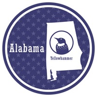 Alabama state map with yellowhammer