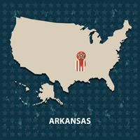 Arkansas state on the map of usa
