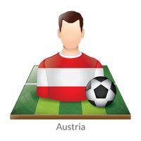 Austria player with soccer ball on field