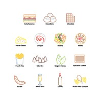 Belgium food and beverage icon set