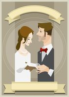 Bride and groom with copy space design