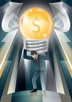 Businessman carrying a huge light bulb with dollar symbol