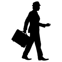 Businessman with briefcase silhouette