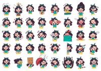 Cartoon girl expressions pack