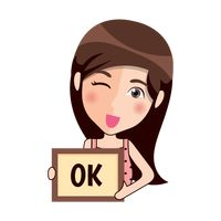 Cartoon girl winking and holding an ok board