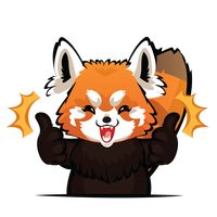 Cartoon red panda gesturing two thumbs up